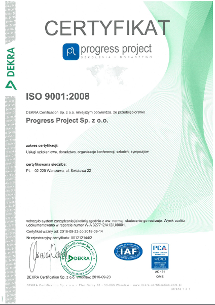 Certyfikat ISO 9001:2008 Dekra